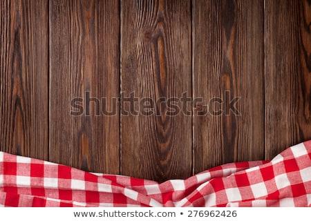 Toalha de mesa madeira vermelho topo ver Foto stock © ThreeArt