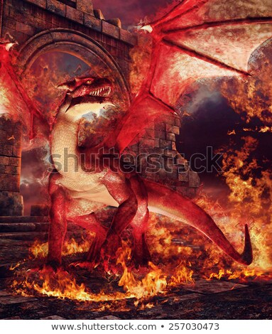 Rood draak kasteel illustratie gelukkig achtergrond Stockfoto © colematt