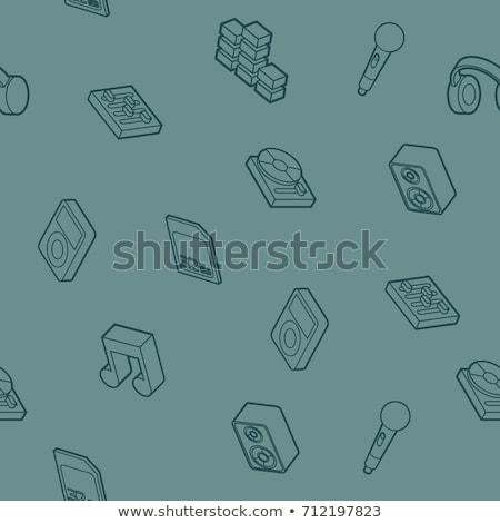 DJ outline isometric pattern Stock photo © netkov1