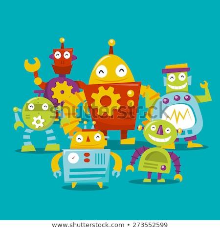 Stock fotó: Rajz · boldog · robot · dizájn · elem · szolgáltatás · vicces