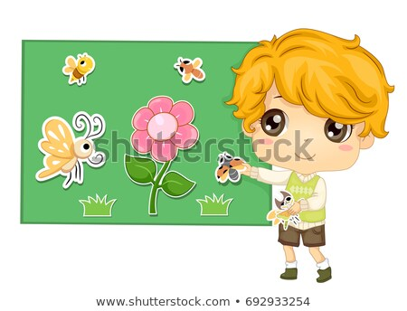 Kid Boy Storytelling Flannel Board Insects Stock photo © lenm