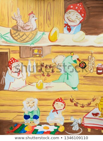 Russian fairy tale hen ryaba open book illustration Stock photo © orensila
