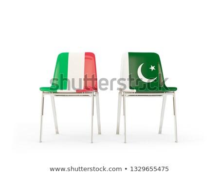 Kettő székek zászlók Olaszország Pakisztán izolált Stock fotó © MikhailMishchenko