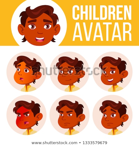 Indiai fiú avatar szett gyerek vektor Stock fotó © pikepicture