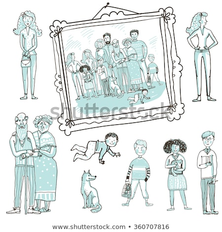 Happy Extended Family Photo Cartoon Illustration Stock photo © robuart