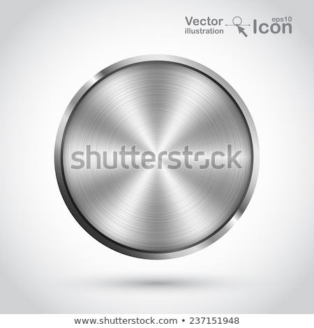 Foto stock: Realistic Circular 3d Brushed Metal Icons Set