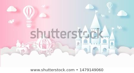 Принцесса замок иллюстрация здании дизайна радуга Сток-фото © bluering
