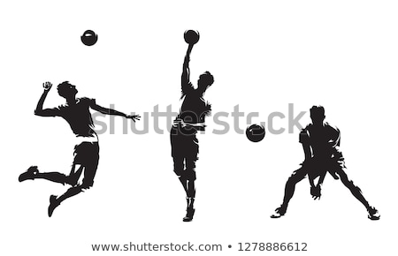 Conjunto voleibol jogador ilustração feliz fundo Foto stock © bluering