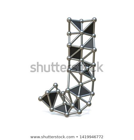 Drót alacsony fekete fém betűtípus levél Stock fotó © djmilic
