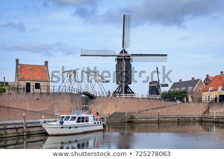 hagyományos · holland · szélmalom · Hollandia · égbolt · fa - stock fotó © Melnyk