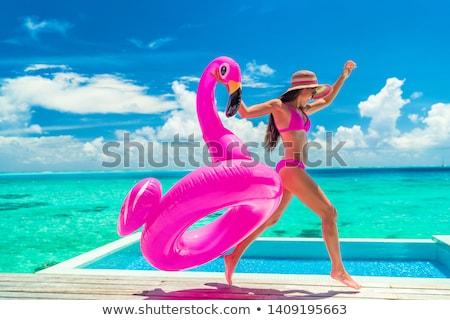 Pembe flamingo plaj şişme kafa yaz Stok fotoğraf © neirfy