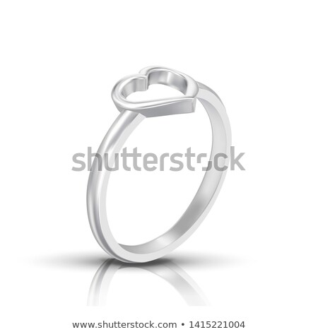 Silver Ring With Shape Of Heart On Top Vector Stock photo © pikepicture