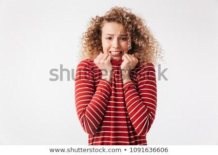 Zmartwiony scary kobieta przypadkowy Zdjęcia stock © deandrobot