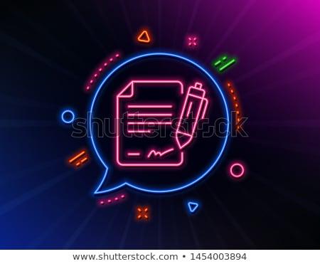 Belge neon etiket eğitim tanıtım kâğıt Stok fotoğraf © Anna_leni