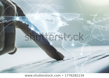Hand typing on keyboard with international system concept Stock photo © ra2studio