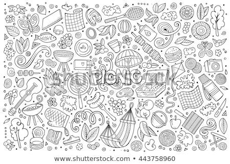 cartoon · picknick · poster · kleurrijk - stockfoto © balabolka