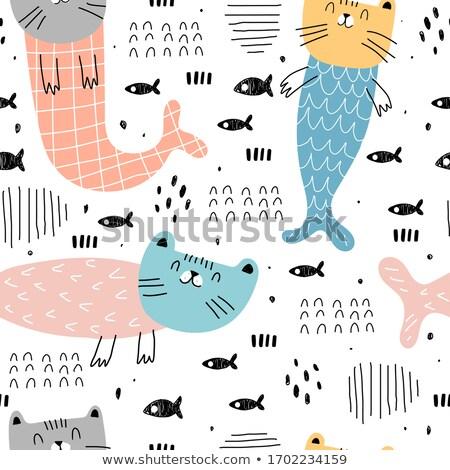 Stockfoto: Cute · kat · zeemeermin · cartoon · stijl