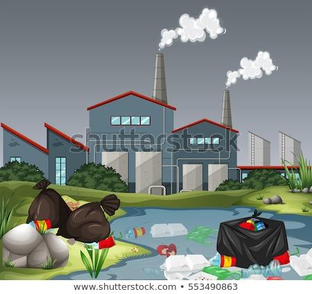 Hulladék szabadtér gyár jelenet illusztráció papír Stock fotó © bluering