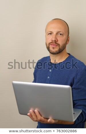 Homem câmera laptop barbudo Foto stock © Giulio_Fornasar