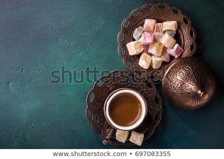 Turks koffie ingesteld pot donkere Stockfoto © grafvision
