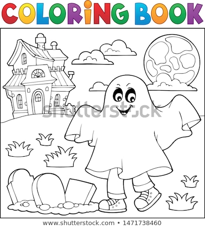 Coloring book boy in ghost costume 1 Stock photo © clairev