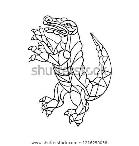 Jacaré mosaico preto e branco estilo ilustração jacaré Foto stock © patrimonio