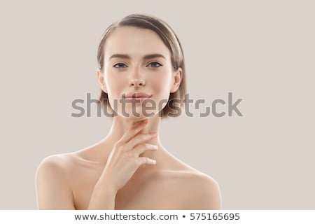 beauty woman face portrait beautiful model girl with perfect fresh clean skin color lips purple red stock photo © serdechny