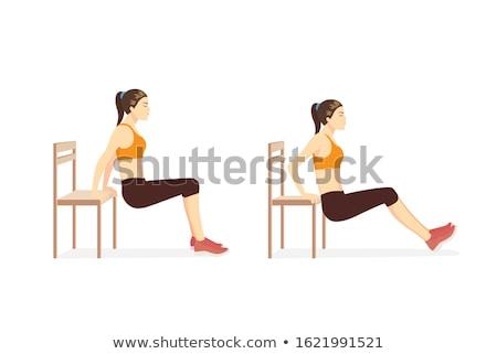 Triceps training mooie atletisch vrouw gewichten Stockfoto © Jasminko