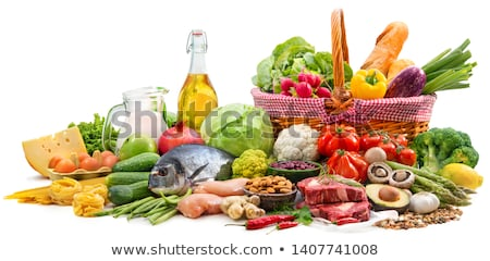 fruit raw vegetables eggs and meat stock photo © nito