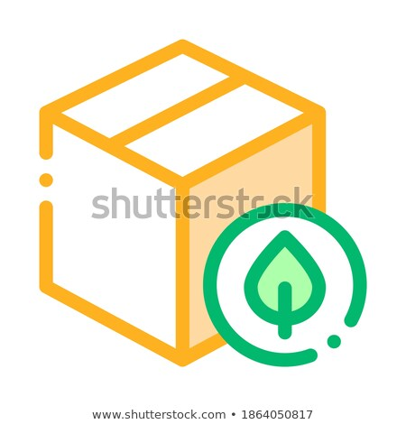 closed carton box with plant leaf vector icon stock photo © pikepicture