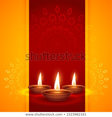 three realistic diya design for diwali festival background Stock photo © SArts