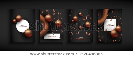 christmas card set of bronze copper party ornament stock photo © cienpies