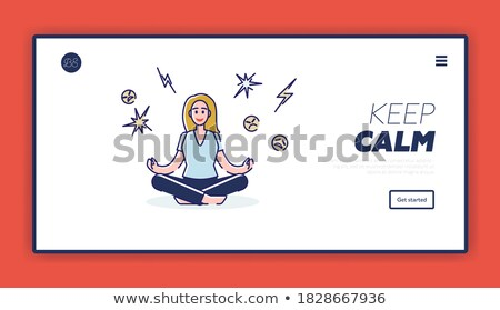 meditation practices linear landing page vector template stock photo © decorwithme