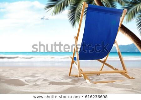 Espreguiçadeira praia natureza férias água menina Foto stock © galitskaya