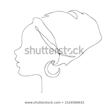 African woman face silhouette in national headdress icon. Logo outline illustration of pretty girl. Stock photo © ESSL