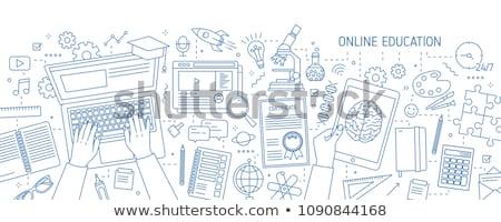 Dizüstü bilgisayar dijital tek renkli vektör modern Stok fotoğraf © pikepicture