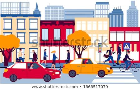 Stock fotó: Városkép · ősz · autó · lovaglás · út · vektor