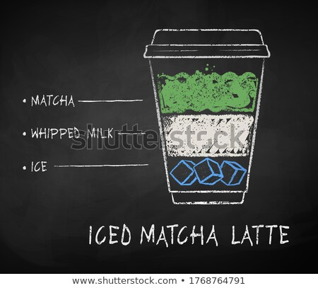 chalk drawn iced matcha tea recipes stock photo © sonya_illustrations