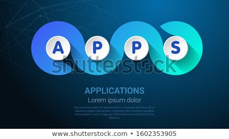 Apps - Apllications Blue Trendy Tamplate For Web Banner Or Landig Page Foto stock © Tashatuvango