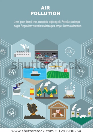 Diagram showing common air pollutants Stock photo © bluering