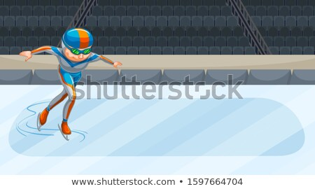 Background scene with athletes doing iceskating in the arena Stock photo © bluering