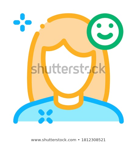Girl Shine Clean Face Icon Outline Illustration Stock photo © pikepicture