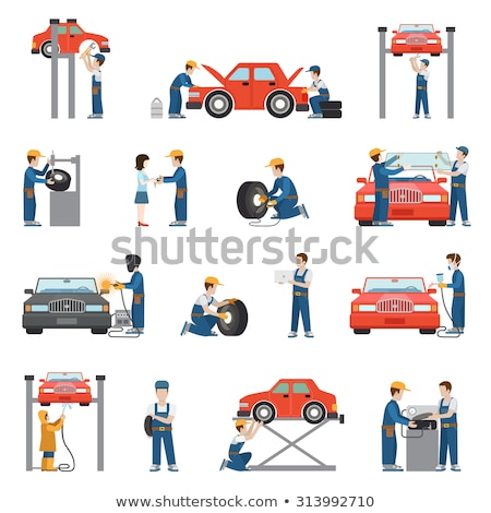 Tire Fitting Service Collection Icons Set Vector Stock photo © pikepicture