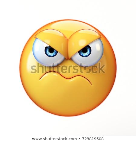 Zangado irritado ilustração furioso raiva emoticon Foto stock © barsrsind