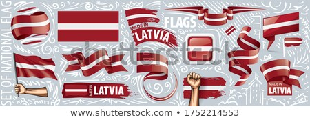 Vector ingesteld vlag Letland creatieve Stockfoto © butenkow