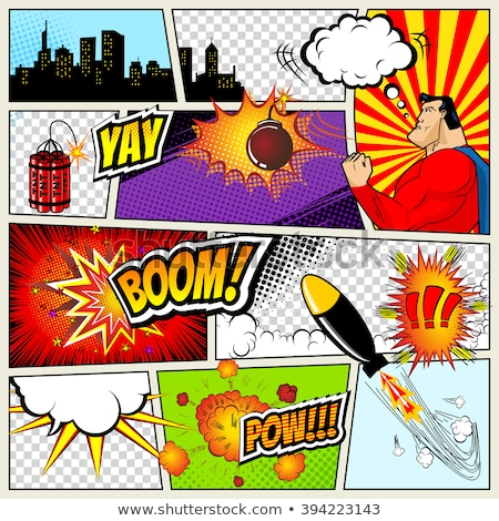 Cartoon, Boom explosion Comic Speech Bubble. Comic book page Stock photo © designer_things