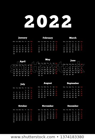 Calendar on 2022 year with week starting from monday, A4 size vertical sheet on dark background Stock photo © evgeny89