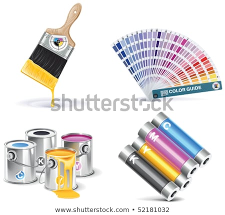 Polygraphy Printing Service Icons Set Vector Stock photo © pikepicture