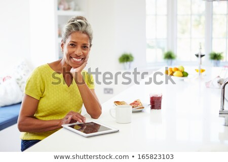 woman portrait with mug and tablet Stock photo © Giulio_Fornasar