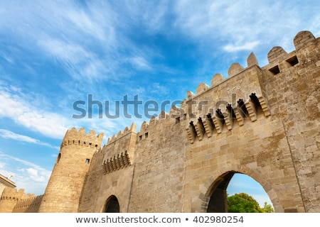 Starówka bramy Azerbejdżan ulicy noc wieża Zdjęcia stock © travelphotography